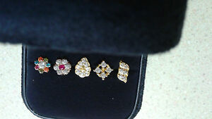 22k-Real-Gold-Nose-Pin-Stud-Ring-stone-Cubic-Zirconia-INDIA-LOT-3-USA-SELLER
