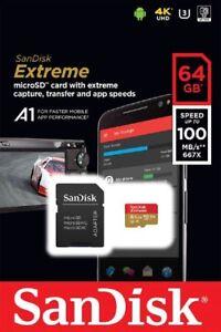SanDisk 64GB microSDXC Extreme 100MB/s A1 4K U3 V30 64G SD microSD memory card 619659155971