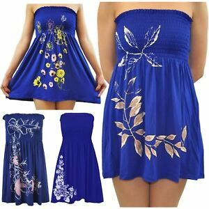 51f3818804 Ladies Plus Size Royal Blue Leaves Butterfly Sheering Strapless Boob ...