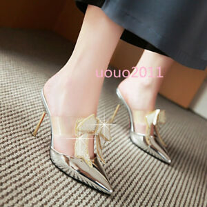 Women-Patent-Leather-Pointy-Toe-Glitter-Bowknot-High-Heel-Slingbacks-Pumps-Shoes