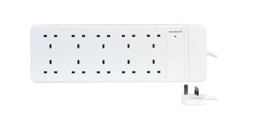 10 Way Gang Socket Power Secteur Extension Lead 1 m mètres Câble 13 A ampli-Blanc