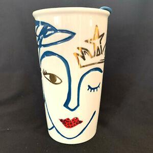 Starbucks ANNIVEnRSARY Ceramic Swarovski Travel Mug Mermaid Siren Crown 10 fl oz