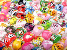 50Pcs Wholesale Mixed Lots Bulk Cartoon Children/Kids Resin Lucite Rings Jewelry