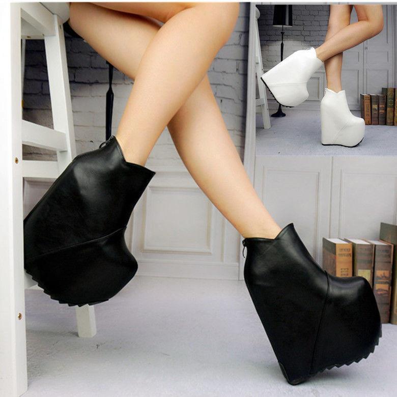Femmes Super Haute Talon Compensé Plateforme Fermeture Éclair Club Chaussures Bottines Chaud Nouveau