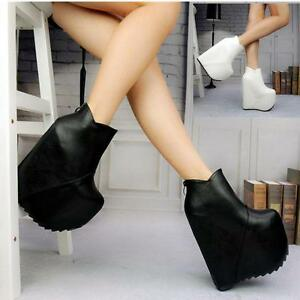9fef0d73cc6 women super High Wedge Heel platform Zip Nightclub Shoes Ankle Boots ...