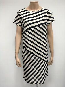 Linea Dress Size 14 Uk Monochrome Stripe Knee Lenght Shift Dress Ebay