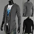 Men's Hooded Cardigan Long Sleeve Knitted Sweater Outwear Jacket Coat Outwear