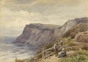 Frederick-George-Reynolds-Cliffs-Isle-of-Wight-19th-century-watercolour-painting