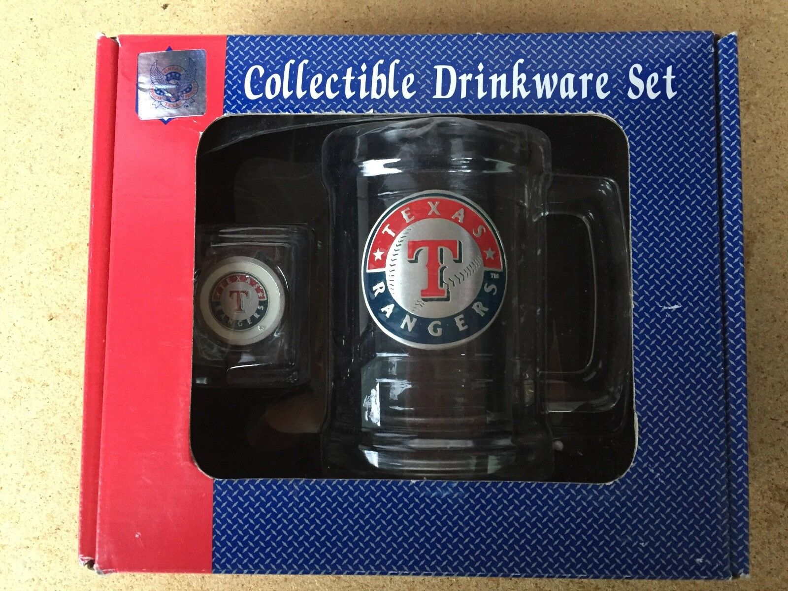 NIB NOS Great American Texas Products TEXAS RANGERS Collectible Bar Drinkware