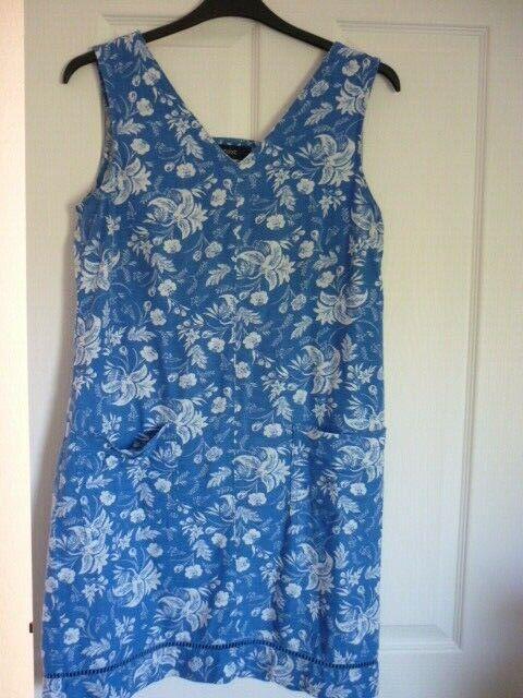 NEXT BLUE IVORY FLORAL LINEN MIX POCKET SHIFT DRESS. UK 12, EUR 40, US 8. FAB