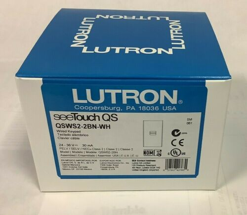 LUTRON QSWS2-2BN-WH WHITE 24V SEETOUCH QS WALLSTATION BRAND NEW FREE SHIPPING