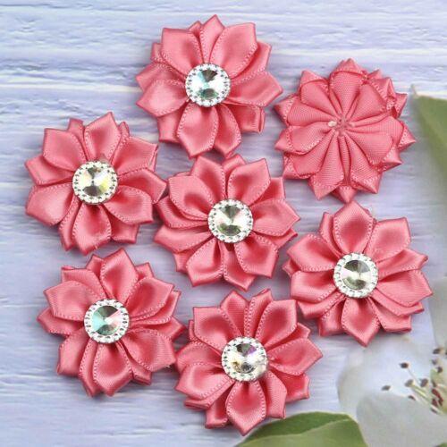 30 Colores 10-50PCS Cinta de Raso Flores con Cristal para Boda Apliques Craft