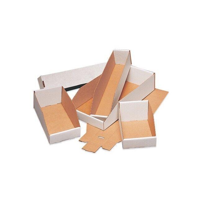 Thornton's Open Top Bin Boxes, 6   x 15   x 4 1 2  , White, 50