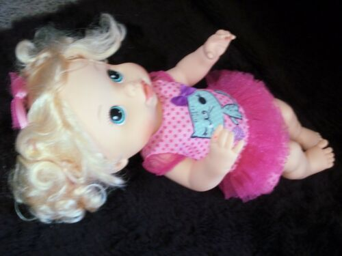 "13"" Baby Alive Doll 2008 Hasbro Drink & Wet Blonde Pigtails Hair Aqua Eyes"