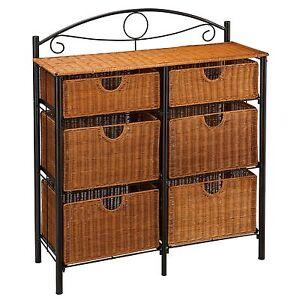 new 6 wicker basket drawers metal frame dresser chest iron vanity storage unit ebay. Black Bedroom Furniture Sets. Home Design Ideas