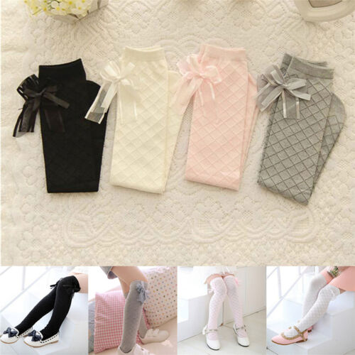 Girl Classic Kids Cotton Socks Tights School High Knee Gridding Bow StockingsM/&C