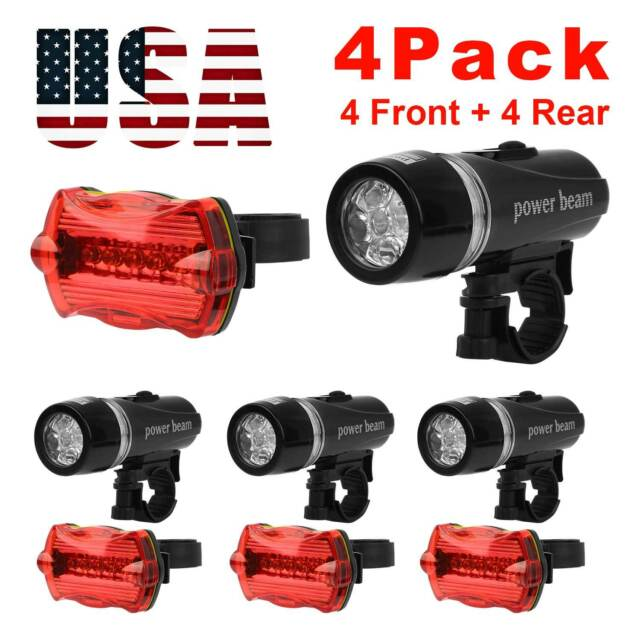 4x 3 Modes Waterproof Bike LED Warning Lights Bicycle Silicone Flashlight //Lot