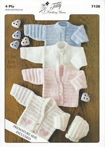 Vat Free Hand Knitting Pattern 4ply Premature Baby Cardigan