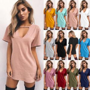 UK-Womens-Choker-V-Neck-Long-Tops-T-shirt-Ladies-Casual-Party-Mini-Dress-Blouse