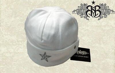 L Bianchi Berretto Rock Star Baby Jersey Berretto Nuovo 2-4 J Con Rsb Logo Ricamato 01-06-