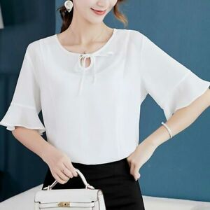 Shirt-Women-Blouse-Short-Sleeve-Ladies-Loose-Summer-Top-Chiffon-Fashion-T-Shirt