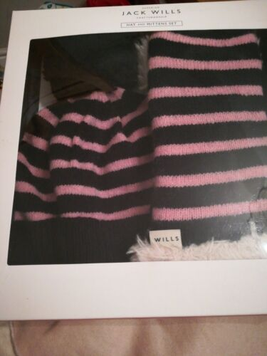 BNIB JACK WILLS PINK//NAVY KNITTED HAT AND MITTEN SET RRP £44.95