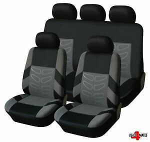 For-Audi-A3-A4-A6-Grey-Black-Soft-Fabric-Front-amp-Rear-Car-Seat-Covers-Full-Set