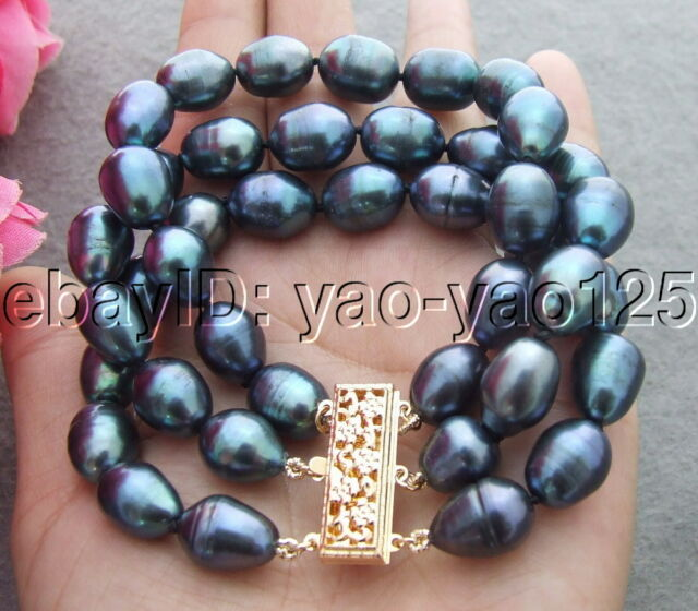 3Strands 10x13mm Black Rice Pearl Bracelet