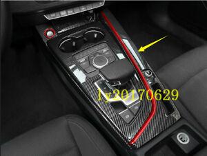 Real Carbon Fiber Inner Gear Shift Box Panel Cover Trim For Audi A3 8V 2014-2018
