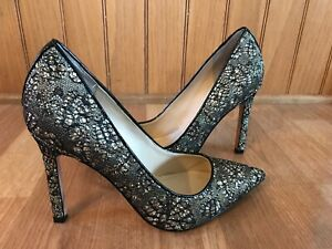 ivanka trump black gold lace high heels shoes size 85  ebay