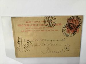 David Nutt Foreign Bookseller London to Brussels 1897  stamps card Ref R25784