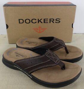 DOCKERS-90-30129-COVENA-BRIAR-MEN-039-S-DARK-BROWN-FLIP-FLOP-SANDALS-NEW-IN-BOX