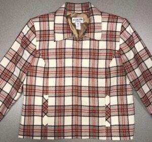 Zip Front uld Ivory Rød Jacket Light Plaid Brun Pendleton Up Size 100 10 8HORTqvw