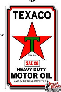 """24/""""X8/"""" TEXACO FRONT DECAL FOR SMALL LUBSTERS GAS AND OIL PUMP SIGN STICKER"""