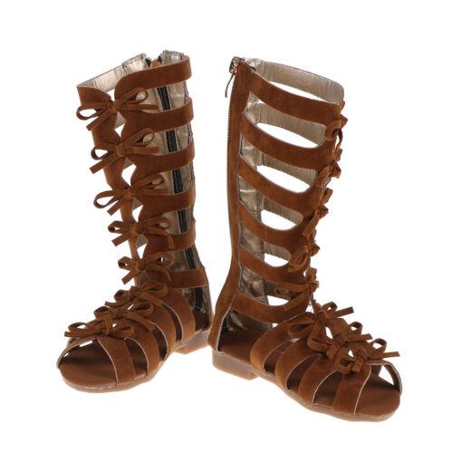 1 Pair Kids Girls Summer Boots Roman Sandals Toddler Gladiator Sandals ZX