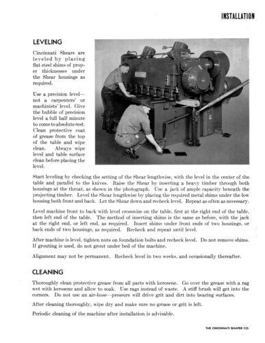 Cincinnatti Series 10 Metal Shear Operator /& Parts List Manual #1529