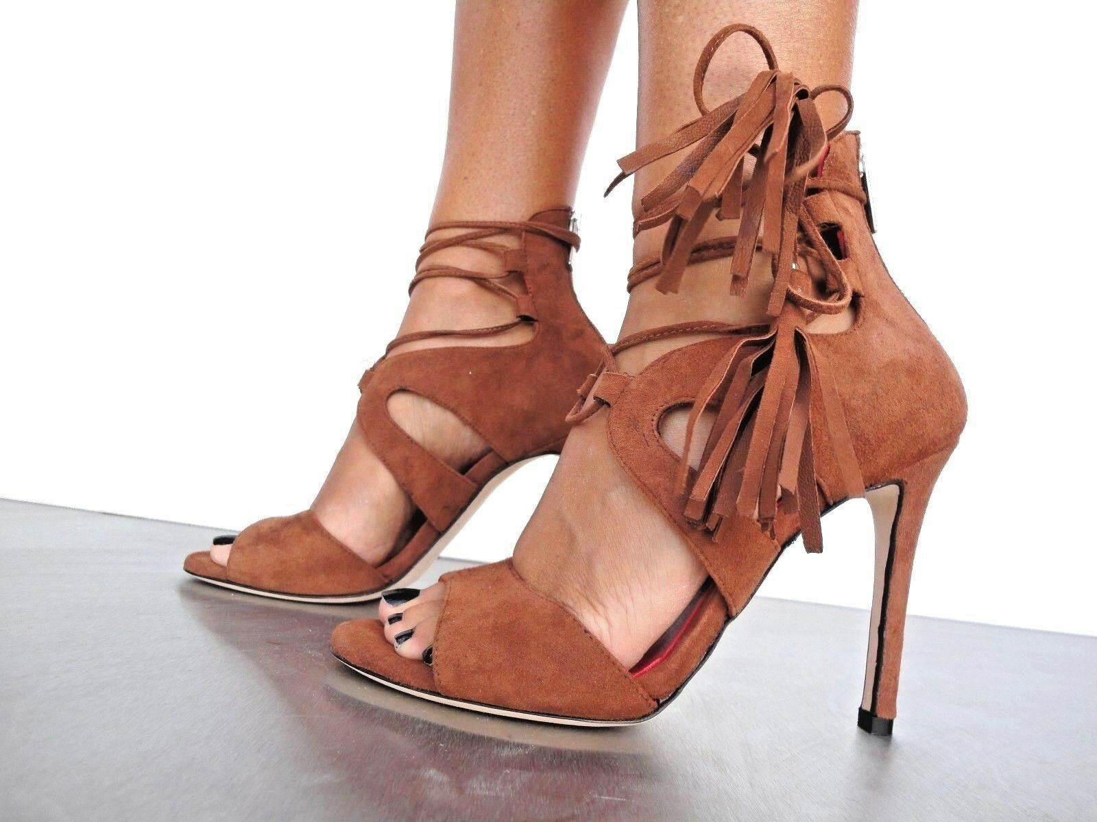 CQ COUTURE C TOM SANDAL SANDALI SANDALEN LACE-UP SUEDE LEATHER BROWN MARRONE 43