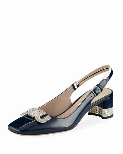 Miu Miu 45mm Patent Leather Slingback Royal Bianco 39