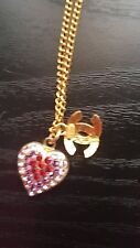Chanel heart crystal necklace 100 percent AUTHENTIC!