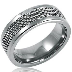 8mm-Titanium-Mesh-Inlay-Wedding-Band-Choose-Your-Ring-Size-8-12-1-2