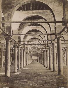 Mezquita-Cairo-Egipto-Vintage-Albumina-Foto-Bonfils-Aprox-1870