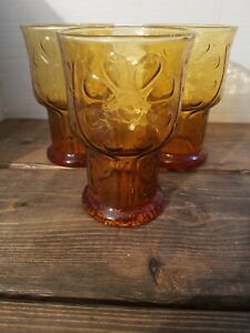 Libbey-Amber-Glass-Tumbler-Country-Garden-Daisy-Flower-Juice-Drink-Vintage-60s