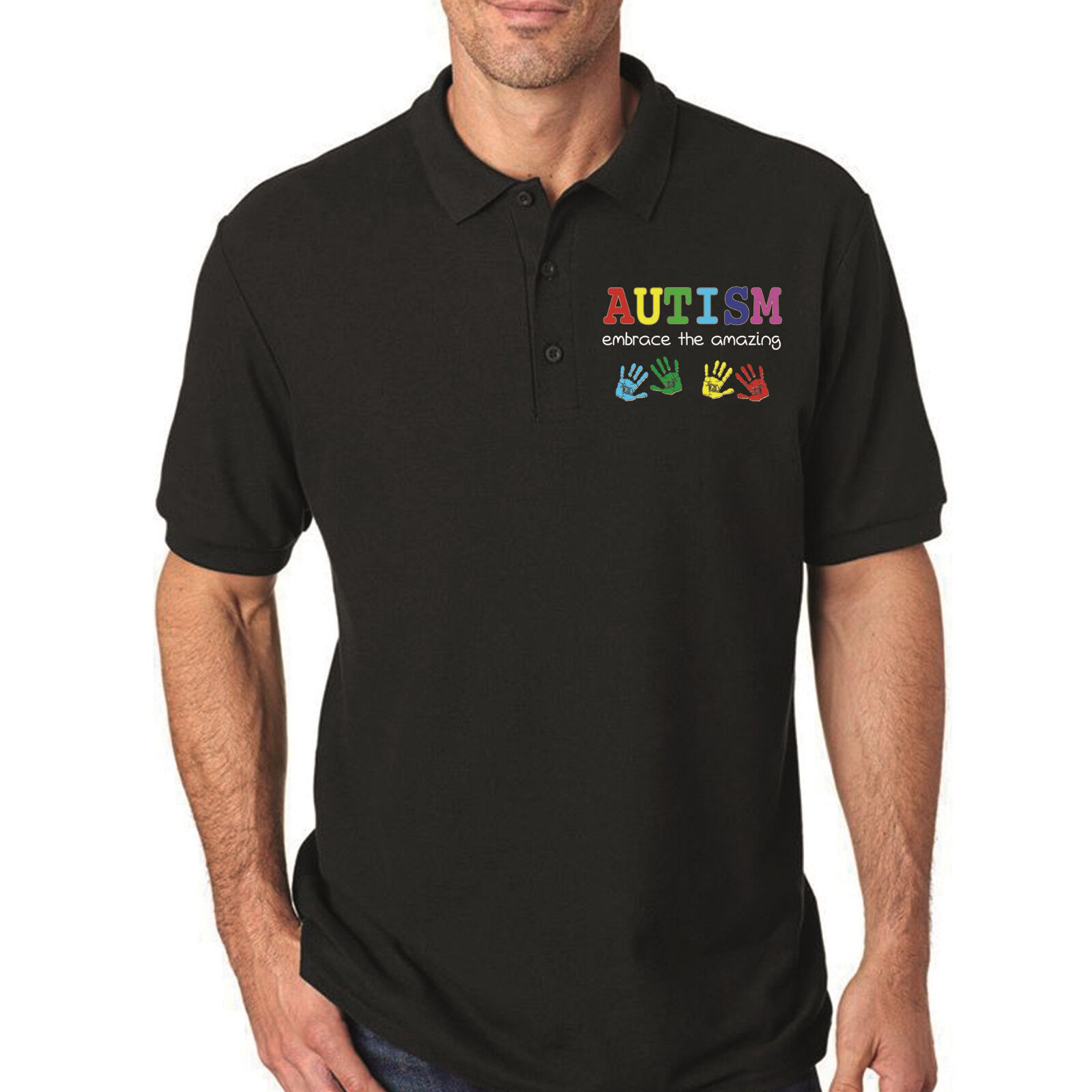 EMBROIDERY Autism Awareness Polo T-shirt Embrace the amazing Light ... 45dd757652c65