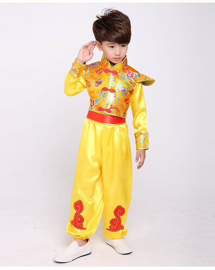 Chinese Boys Fancy Dress Oriental Kimono Asian Pyjama Kung Fu Kid Child Costume