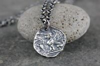 Sphinx Sterling Silver Necklace - Ancient Greek Style Coin, Protection, Egyptian