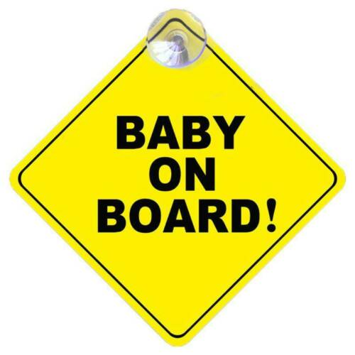 BABY ON BOARD Stroller Safety Car Window Sticker Reflective Warning Sign Yellow