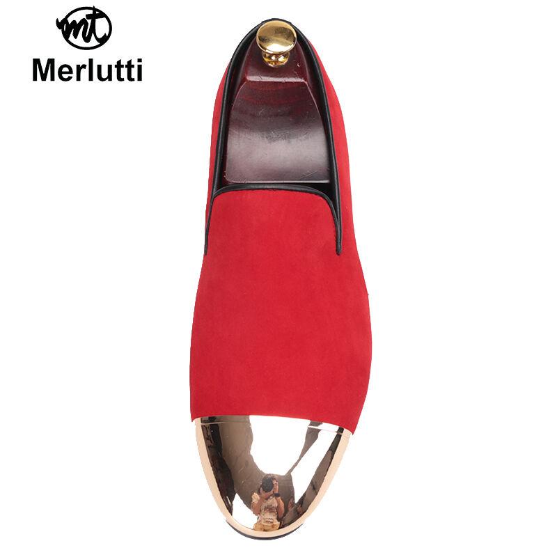 Merlutti Rouge Velours avec Métal or Orteil