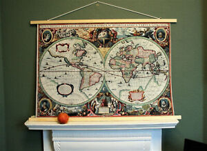 "Antique 1630s World Map by Henrik Hondius, Art Print on Cotton Canvas 36.5x24.5"""