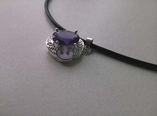 Collar Colgante de piedras preciosas de plata esterlina 925 sobre cable de Cuero Negro-Excelente Regalo
