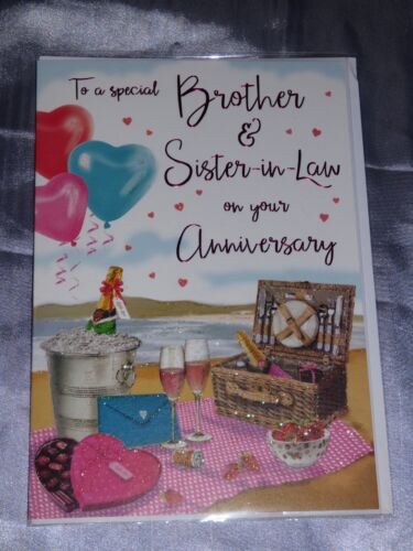 ANNIVERSARY CARD BROTHER /& SISTER IN LAW WEDDING CUTE TRADITIONAL BROTHER AND